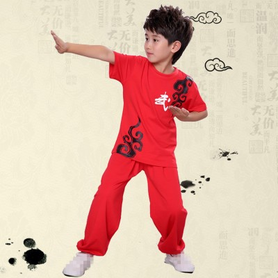 Kids Kung Fu Tai chi costumes boys children school student china traditional martial wushu performance uniforms costumes