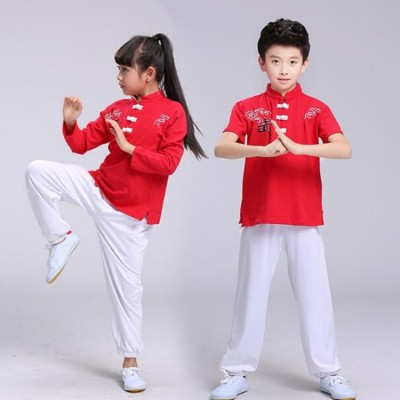 Kids kung fu tai chi uniforms boys girls stage performance china traditional martial student exercises fitness costumes
