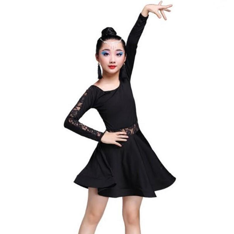 Girls Latin Rumba Samba Dancewear Kids Stage Performance Costume Dresses Outfits