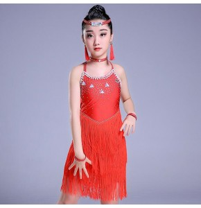 Kids latin competition dress diamond fringes blue red black white performance salsa chacha latin  dance dresses