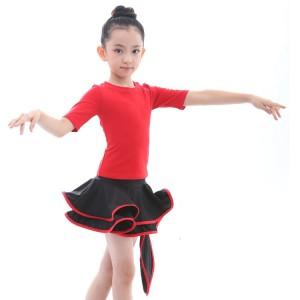 Kids latin dance dresses black and red salsa rumba chacha performance competition performance tops and skirts