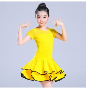 Kids latin dance dresses black pink yellow competition stage performance rumba salsa chacha dance dresses