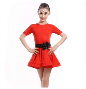 Kids latin dance dresses competition girls children mint orange red pink stage performance salsa rumba chacha dance dress dancing clothes