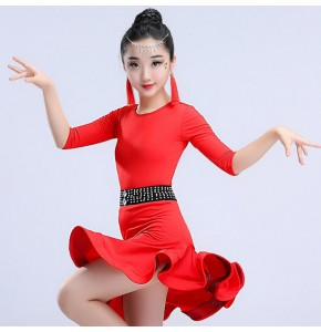 Kids latin dance dresses girls diamond sashes mint red black competition ballroom salsa chacha rumba professional performance dresses
