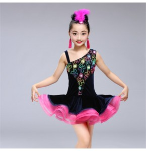 Kids latin dress  for girls velvet competition stage performance competition modern dance ballroom dress