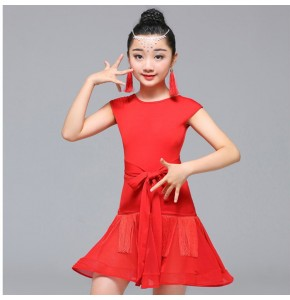 Kids latin dresses competition girls children red black school gymnastics stage performance rumba salsa chacha dance dresses