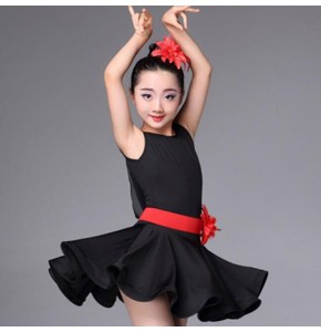 Kids latin dresses for girls black pink blue competition stage performance salsa chacha rumba practice dancing dresses