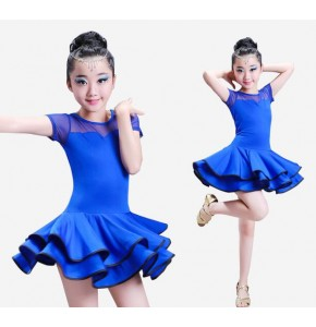 Kids latin dresses for girls stage performance blue red black school dancing competition salsa rumba dresses