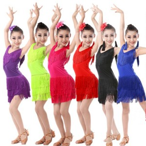Kids latin dresses girls stage performance competition red black green blue fringes salsa rumba practice dresses