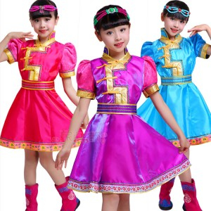 Kids Mongolian dance girls Chinese folk dance costumes ancient traditional film cosplay dancing outfits robes