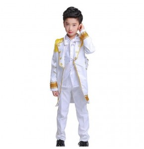 Kids singers jazz dance outfits for boy white stage performance competition hiphop singers chorus drummer dancing costumes