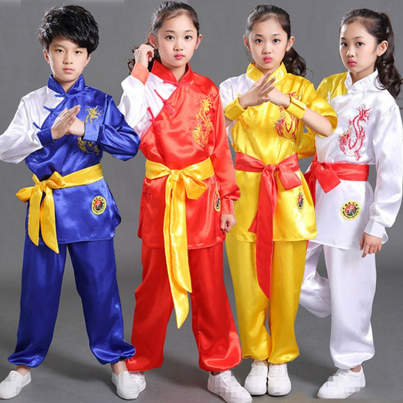 Kids Tae Kwon Do wushu costumes boys girls traditional dragon martial stage  performance exercises tai chi kung fu student uniforms