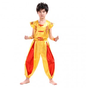 Kids wushu costumes boys china traditional dragon martial tai chi kung fu performance drama cosplay student uniforms