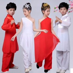 Kids wushu traditional folk martial kung fu costumes film photos cosplay stage performance student tai chi uniforms