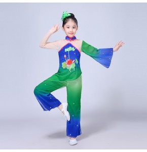 kids yangko Chinese folk dance costumes for girls green gradient  stage performance traditional dancing dress