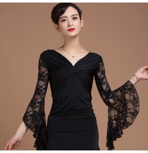 Lace patchwork long sleeves v neck women's ladies black ballroom cha cha salsa dance tops