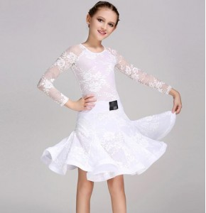 Lace yellow mint orange white turquoise long sleeves fashion girl's kids children ballroom latin salsa cha cha dance dresses