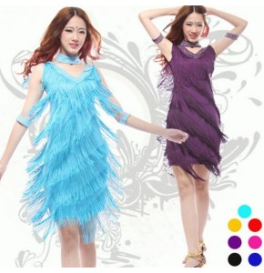 Latin Dance Dresses Suits Women/Girls Sexy Fringes long Skirt Ballroom/Tango/Rumba/Latin Dresses Clothings For Dancer