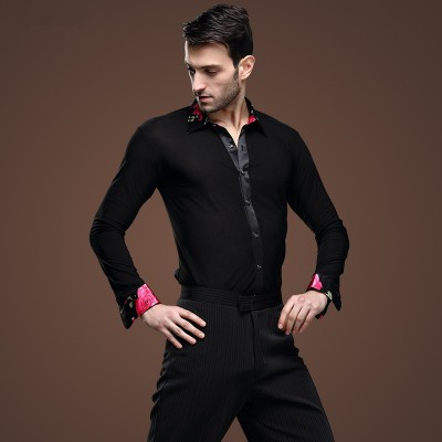 Latin dance SHIRT MENS shirts Latin training clothes modern dance Rumba cha-cha Samba Jive ballroom shirt
