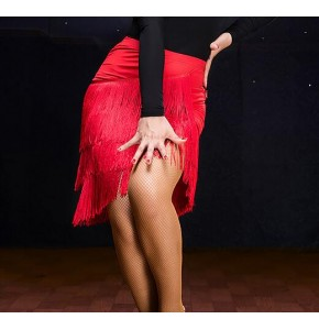 Latin dance skirts for women's tassels female stage performance competition salsa chacha samba dance skirts