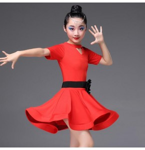Latin dress for girl's kids children  red green pink stage performance gymnastics ballroom rumba dresses