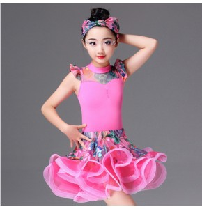Latin dress for girl's stage performance competition rumba salsa floral pink light yellow dance outfits