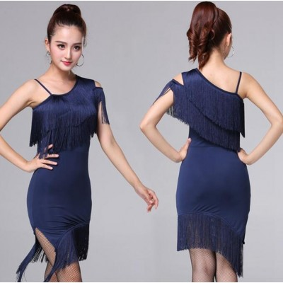 129d2351e904a Latin dress for women female stage performance navy red black fringes salsa  chacha dance dresses