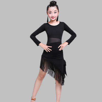 Latin dresses black red girl's kids children performance gymnastics professional competition latin ballroom chacha dance dresses