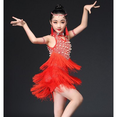 Latin dresses for kids children girls blue white black red stage performance competition fringes beads dance outfits