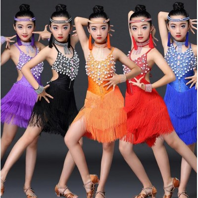 latin dresses Royal blue orange red black  beads diamond fringes backless girls' kids children stage performance competition latin dance dresses