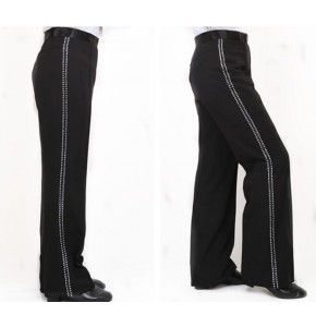latin pants Black boy's kids children stage performance competition long length ribbon diamond side leg latin ballroom pants