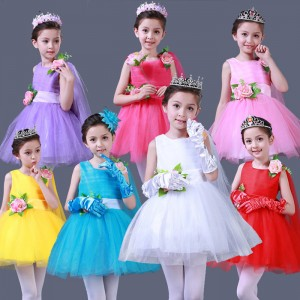 Light pink fuchsia red violet red white girls kids children princess party jazz singers ballet dance dresses