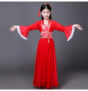 Light pink purple yellow red  girl's kids children ancient Chinese traditional folk fairy princess dance film photos cosplay dresses costumes