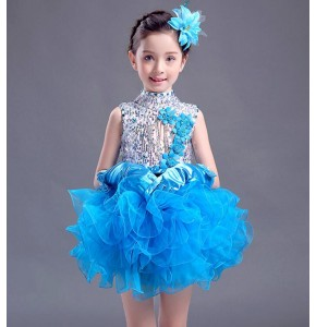 Light pink turquoise red green girls kids children modern jazz sequins ballet skating dancing dresses