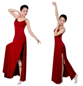 Long length modern dance ballet dress women's wine red black female competition stage performance ballet dance dresses