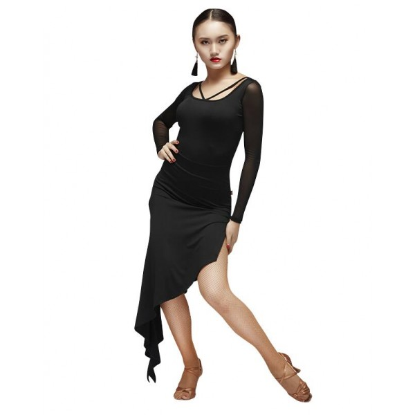New Girls Latin Dress Tango Salsa Ballroom Perform Costume Long Sleeve Dancewear