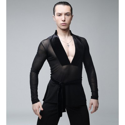 Male Latin Dance Shirts Deep V-Neck Collar Ballroom Black Dance Tops Sexy Men Latino Gauze Clothing For Latin Dance Clothes