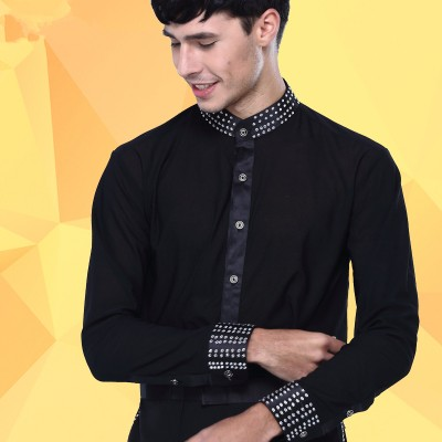Men Dance Shirt Turtle Neck Long Sleeve Mens Latin Shirts Ballroom Dance Tops