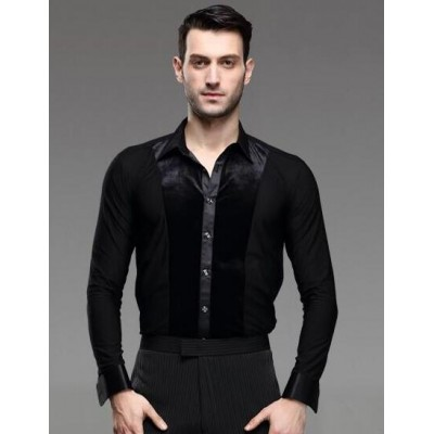 Men Latin Dance Shirt Dress Ballroom Rumba Samba Cha-cha Adult/Children Dance Wears Latin Practice Tops