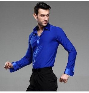 Men Latin Shirt Adult Latin Dance Tops Clothing For Dance Man Long Sleeve Dance Dress Waltz/Tanto/Rumba Dancewear ballroom dance