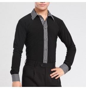 Men's ballroom dance shirts striped patchwork long sleeves male competition stage performance ballroom tango latin dance shirts tops