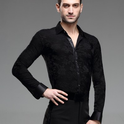 Men's Ballroom Latin Dress Shirt Cha Cha Rhythm Rumba Jazz Competition Practice Dance Shirts Top Black