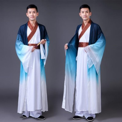 Men's Chinese folk dance costumes  ancient traditional china style drummer fan drama hanfu dragon dancing costumes robes