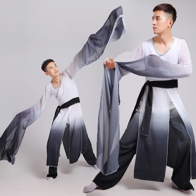 Men's Chinese folk dance costumes black and white gradient  water fall sleeves  classical china han film cosplay dancing outfits