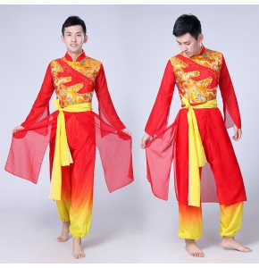Men's Chinese folk dance costumes stage performance dragon china cosplay competition dancing outfits costumes