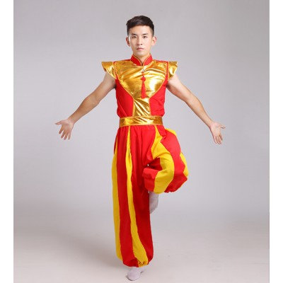 Men's Chinese folk dance  drummer performance costumes red yellow dragon performance yangko dancing costumes
