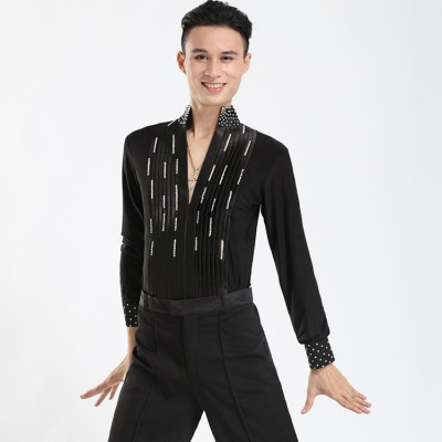 Mens Competition stones  Ballroom leotards Shirts Latin Dance Top Mens Sexy Performance Dancewear Deep V-neck Lace Standup Collar