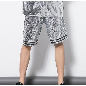 Men's hiphop dance shorts men's male competition stage performance sequined singers dancers street dance shorts
