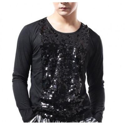 Men's jazz dance shirts men'e male competition stage performance singers latin dance tops t shirts