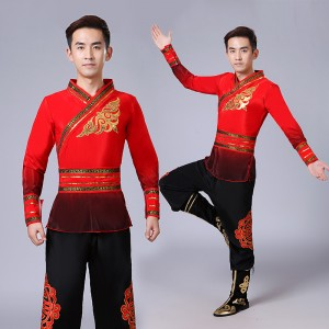 Men's male Mongolian Chinese folk dance costumes ancient traditional han competition stage performance dancing costumes robes